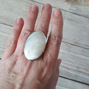 Mother of Pearl & 925 Sterling Statement Ring